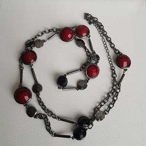 Red, Grey and Black Beaded Necklace